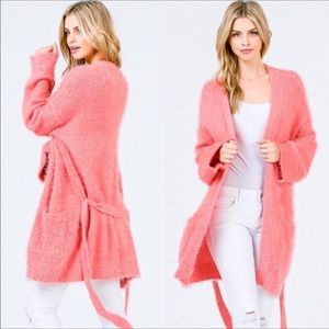 Pink Super soft and fuzzy long cardigan w/ pockets